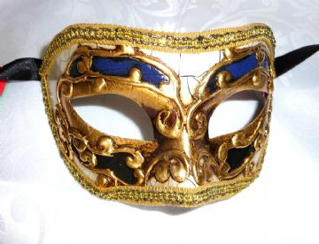 Genuine Venetian Blue & Cream Crackle half Mask
